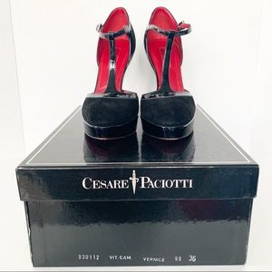 Cesare Paciotti T-strap Patent Suede Heel-Vernice